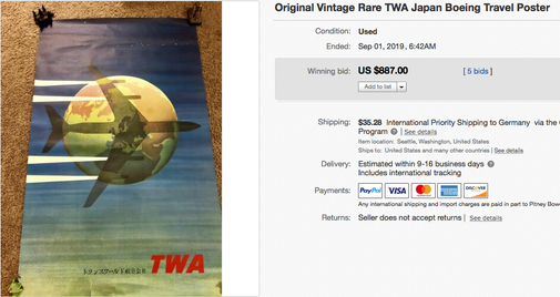 TWA (japanese text) - Original vintage airline travel poster