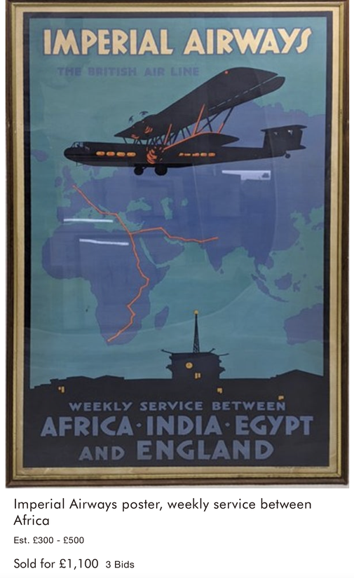 Imperial Airways - Africa · India · Egypt and England - Original vintage airline poster