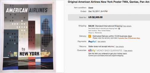 American Airlines - New York - Original vintage airline poster by Weimer Pursell
