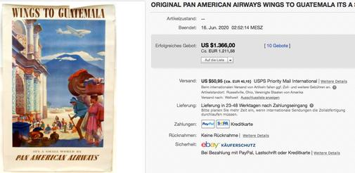 Pan American Airways - Wings to Guatemala - Paul George Lawler - Original vintage airline poster