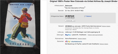 United Air Lines - Colorado - Original vintage airline poster by Joseph Binder