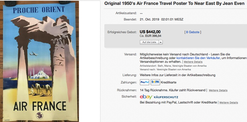 Air France - Proche Orient - Original vintage airline poster by Jean Even
