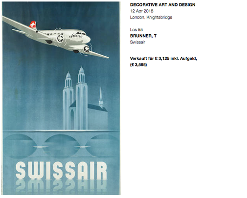 Swissair - DC-3 - Original vintage airline poster by T. Brunner