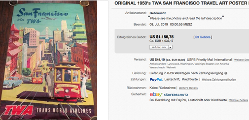 San Francisco via TWA - Original vintage airline travel poster