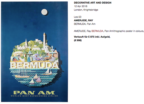 Pan Am - Bermuda - Original vintage airline poster by Ray Amejide