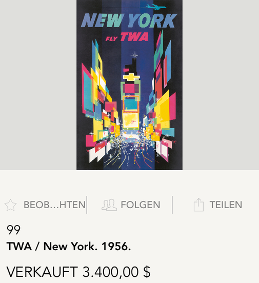 TWA - New York (Jet) - Original vintage airline poster by David Klein