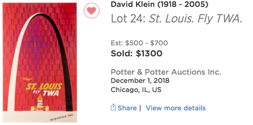 TWA - St. Louis - David Klein - Original airline poster