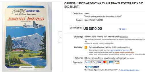 Aerolineas Argentinas - Beautiful Argentina - Original vintage airline poster