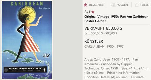 Pan American - Caribbean - Jean Carlu - 1950s - Original vintage airline travel poster