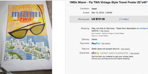 TWA - Miami - Original vintage airline travel poster by David Klein