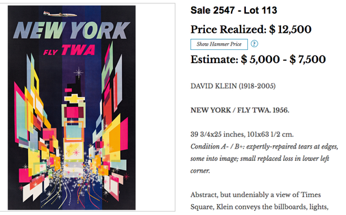 TWA - New York (Connie version) - David Klein - Original vintage airline travel poster