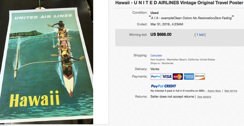 United Air Lines - Hawaii - Stan Galli - Original vintage airline travel poster