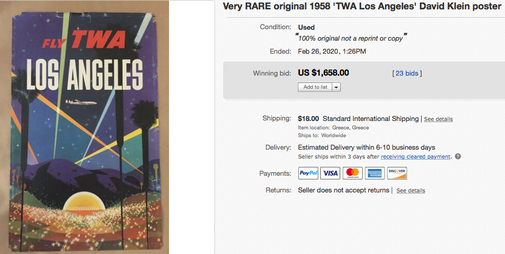 TWA - Los Angeles - Original vintage airline poster by David Klein