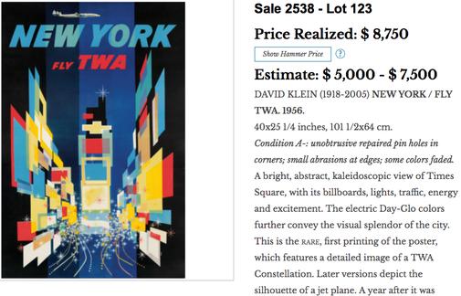 TWA - New York - David Klein - Original vintage airline poster (1st edition)