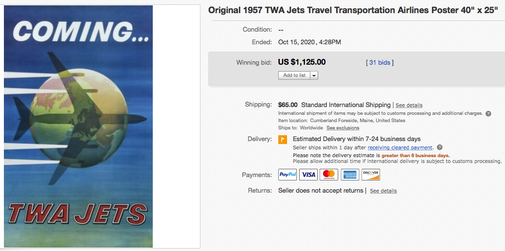 Coming... TWA Jets - Original vintage airline poster