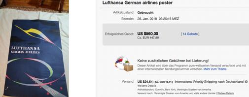 Lufthansa - German airlines - Original vintage airline poster - Abeking