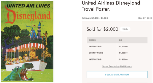 United Air Lines - Disneyland - Stan Galli - Original vintage airline poster