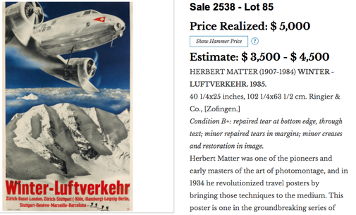 Swissair - Winter-Luftverkehr - Herbert Matter - Original vintage airline poster