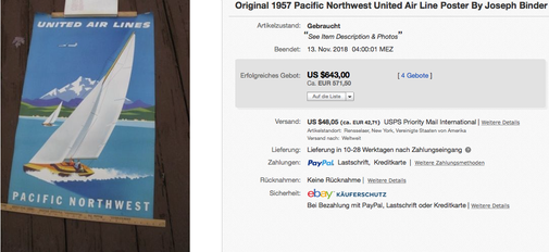 United Air Lines - Pacific Northwest - Original vintage airline poster by Joseph Binder