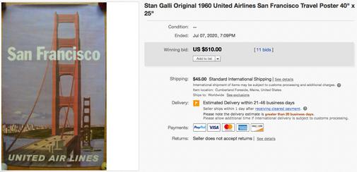 United Air Lines - San Francisco - Stan Galli - Original vintage airline poster