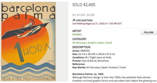 Aerea del Mediterraneo - Barcelona Palma - Original vintage airline poster