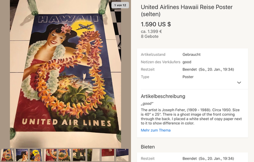 United Air Lines - Hawaii - Joseph Feher - Original vintage airline poster
