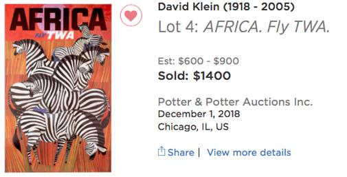 TWA - Africa (Zebras) - David Klein - Original airline poster