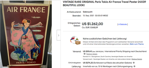 Air France - Paris-Tokio - Tabuchi - Original vintage airline poster