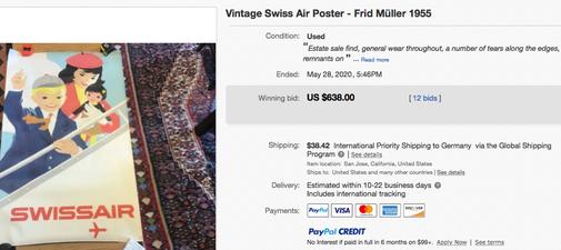 Swissair - Frid Müller - 1955 - Original vintage airline travel poster