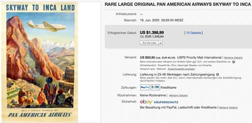 Pan American Airways - Skyway to Inca Land - Paul George Lawler - Original vintage airline poster