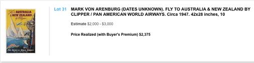Pan American World Aiways - Australia & New Zealand - Mark von Arenburg - Original vintage airline poster