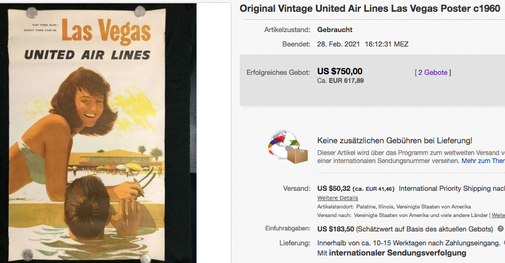 United Air Lines - Las Vegas - Original vintage airline poster by Stan Galli