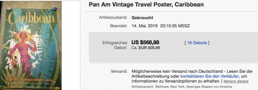 Pan American - Caribbean - Original vintage airline poster
