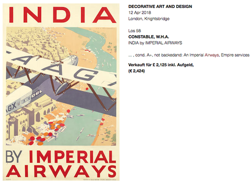 Imperial Airways - India - Original vintage airline poster by W.H.A. Constable