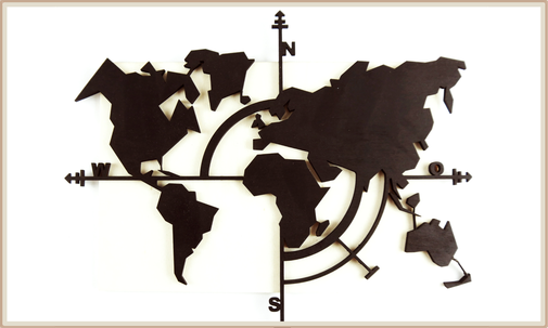 Lasercut Dekoration Weltkarte aus lackiertem Holz