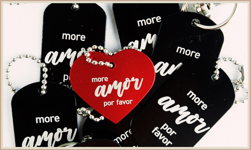 "Anhänger Gravur ""more amor por favor"""