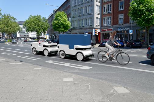 Der Ducktrain ist ein automatisiertes Leichtfahrzeug. Es fährt per Sensor einfach hinterher. Quelle: DroidDrive GmbH