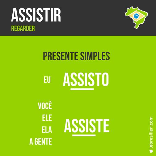 verbe regarder en portugais assistir présent presente simples