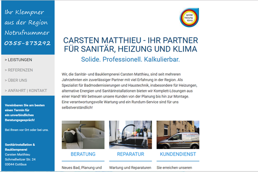 Screenshot der Internetseite von www.Carsten-Matthieu.de