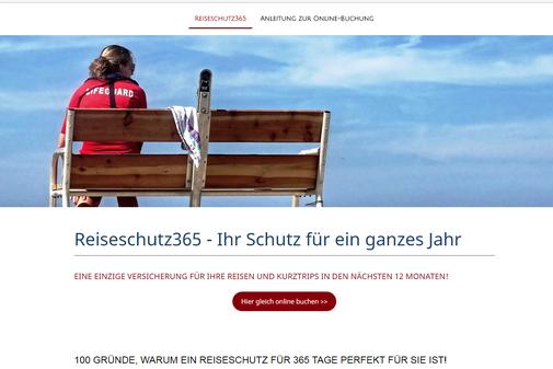 Startseite der Internetseite von www.reiseschutz365.de