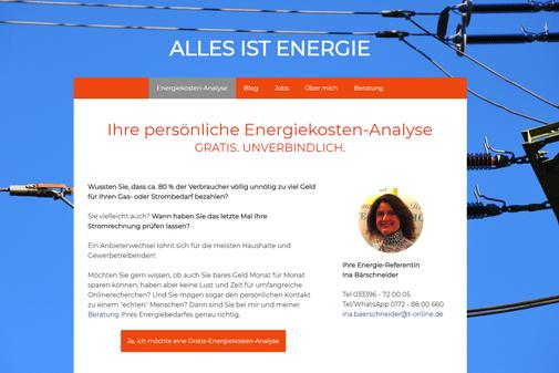 Screenshot der Startseite www.energiekosten-analyse.de