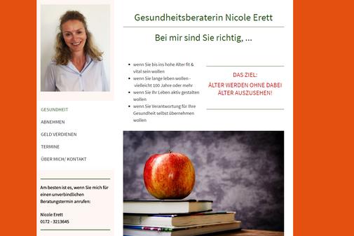 Screenshot der Internetseite von Nicole Erett