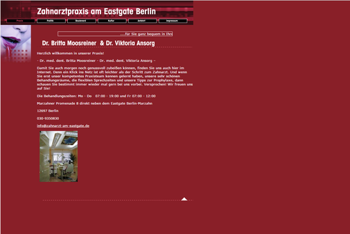 Alte Startseite von www.zahnarztameastgate.de