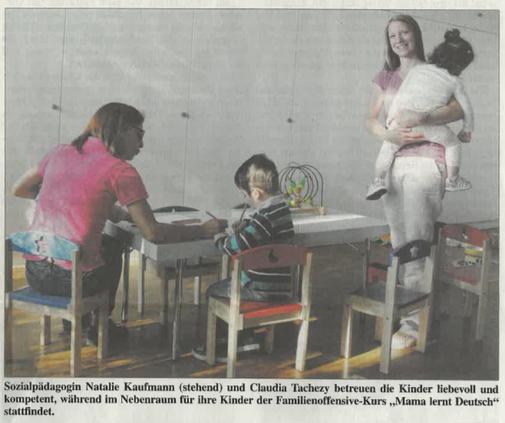 Artikel über die wertvolle Arbeit des Sprachcafés und wie dabei auch die Bildungsschancen der Kinder verbessert werden.