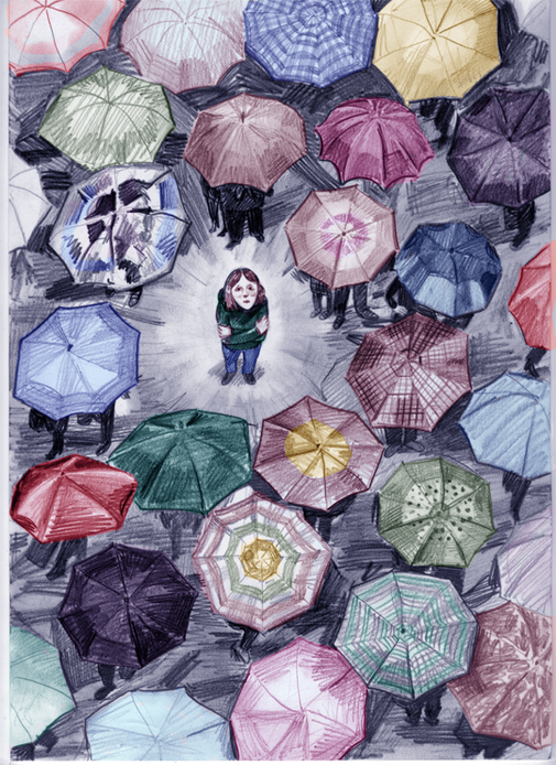 Illustratie bij artikel in Elisabeth Magazine over eenzaamheid onder jonge mensen.