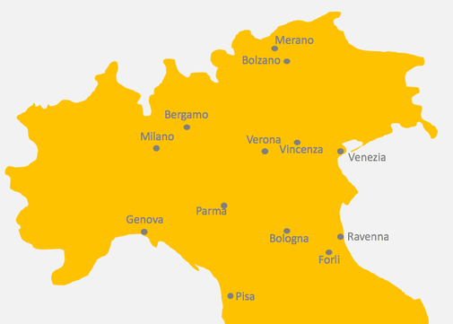 Karte von Norditalien