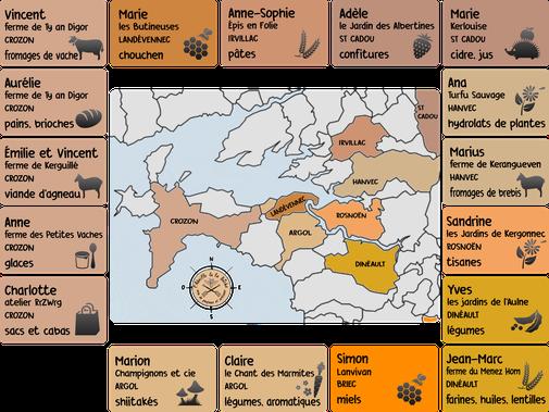 Carte des producteurs de l'Abeille et la Bêche