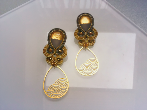 Soutache Statement Ohrringe Anea, by Kinari, Schmuckdesign