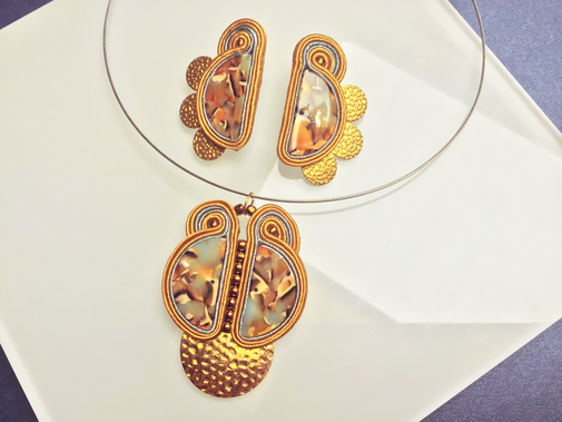 Soutache Statement Set (Ohrringe & Kette) Conzela by Kinari, Statementschmuck, Designer, handmade