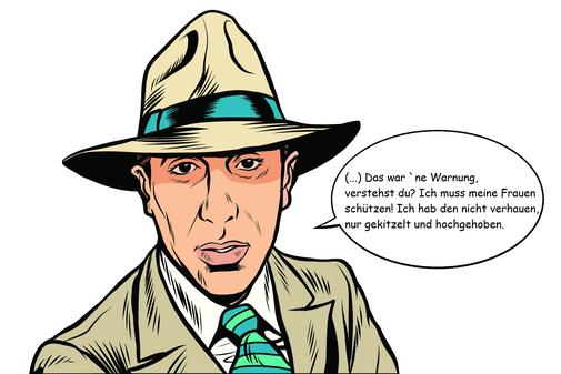 Eine männliche Comicfigur mit Sprechblase, ein Gentleman-Gangster in Anzug und Hut